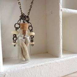 Tribal Vial Necklace Driftwood OOAK - Driftwood and handmade Charms