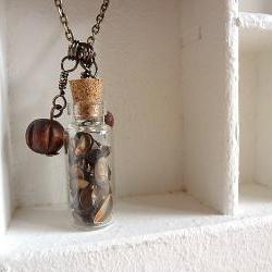 Tribal Necklace Vial Seeds OOAK - Seeds and handmade Charms